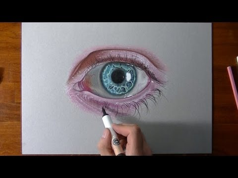 Drawing and coloring a crazy realistic eye