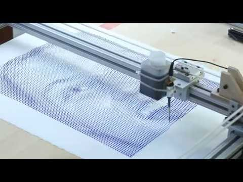 The drip printer in action