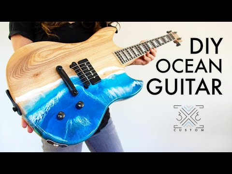 Making a Les Paul Jr. Inspired Guitar with an Epoxy Ocean Pour // DIY Guitar Build