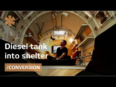 Tiny diesel tank becomes time-capsule-style personal shelter