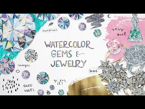 Watercolor Gems and Jewelry Trailer
