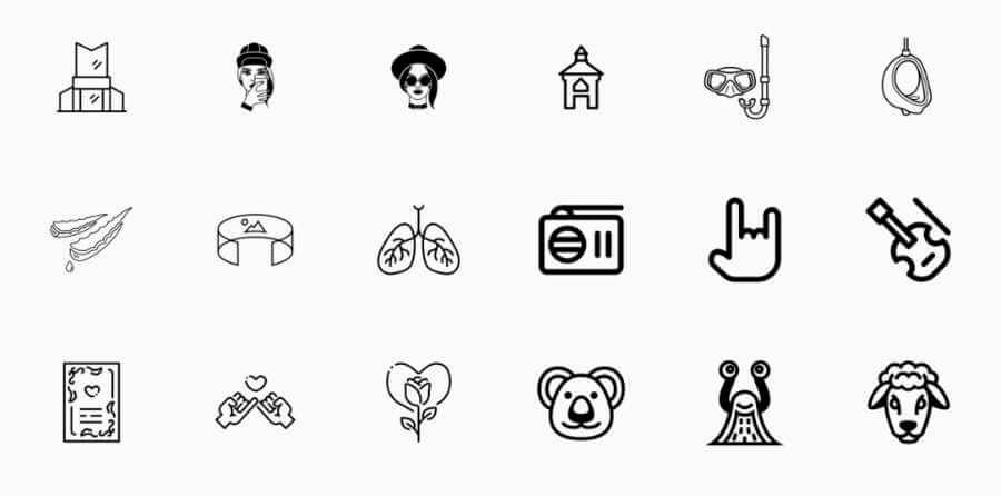 Iconos en vectores