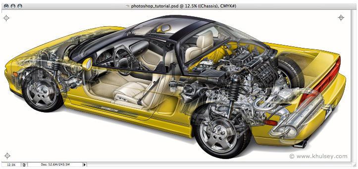 ilustración de auto hecha con Photoshop