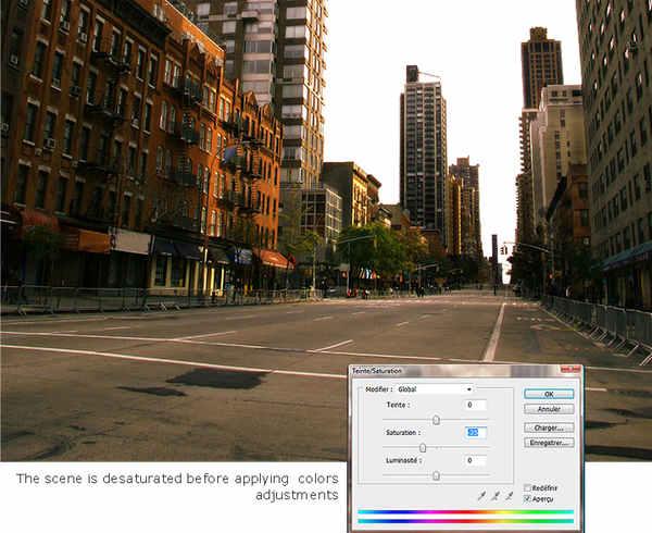 ciudad abandonada con Photoshop