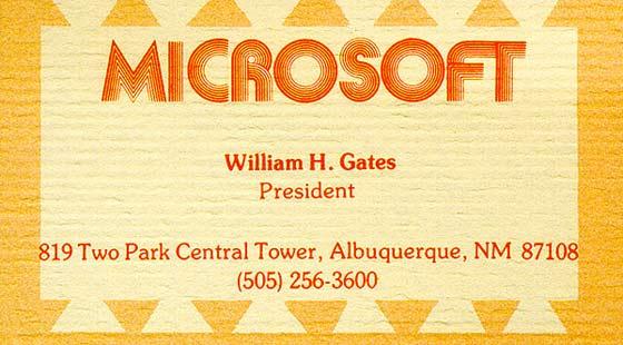 tarjeta presentación de Bill Gates