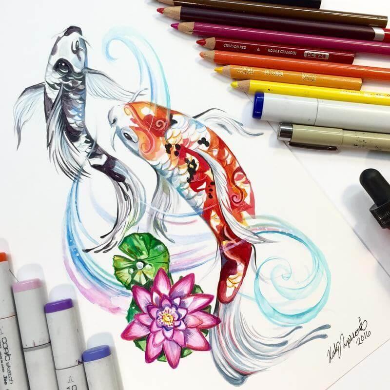 Dibujos pez koi