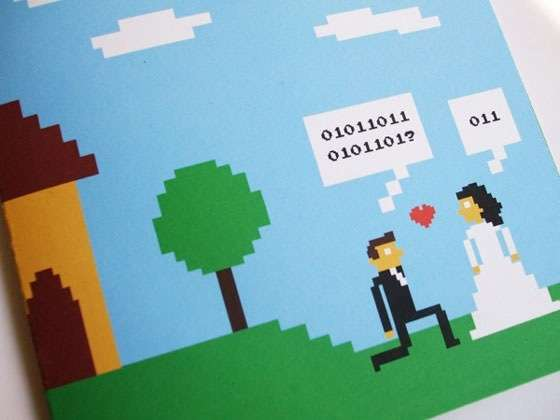 invitación de boda geek
