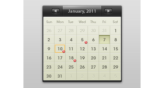 Calendario en vectores