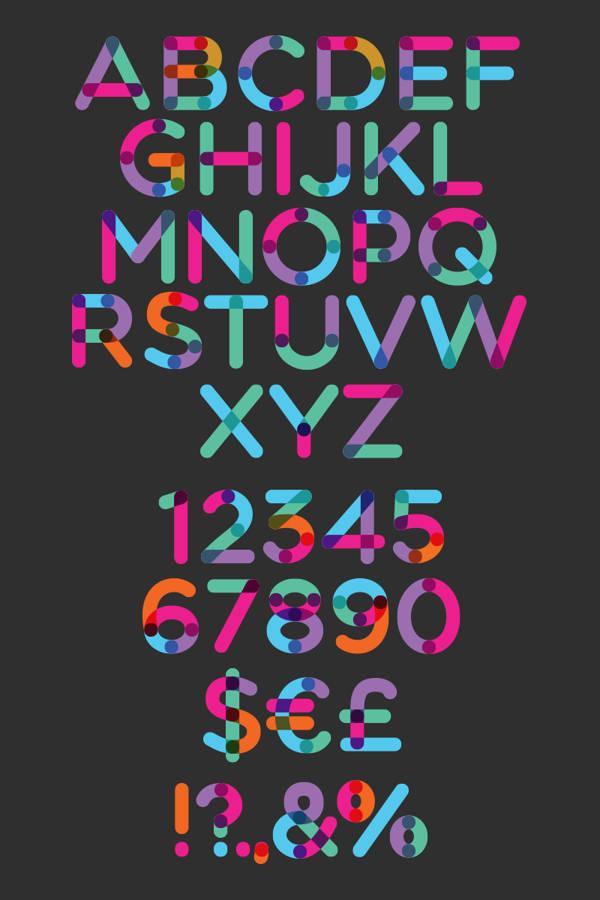 tipografía multicolor gratuita