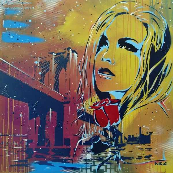 stencils y graffitis coloridos
