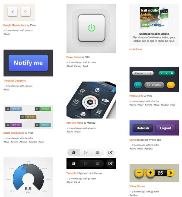 botones para páginas web