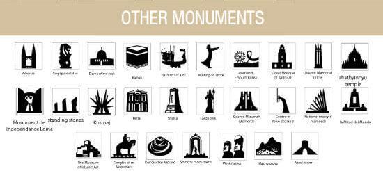 Iconos de monumentos mundiales