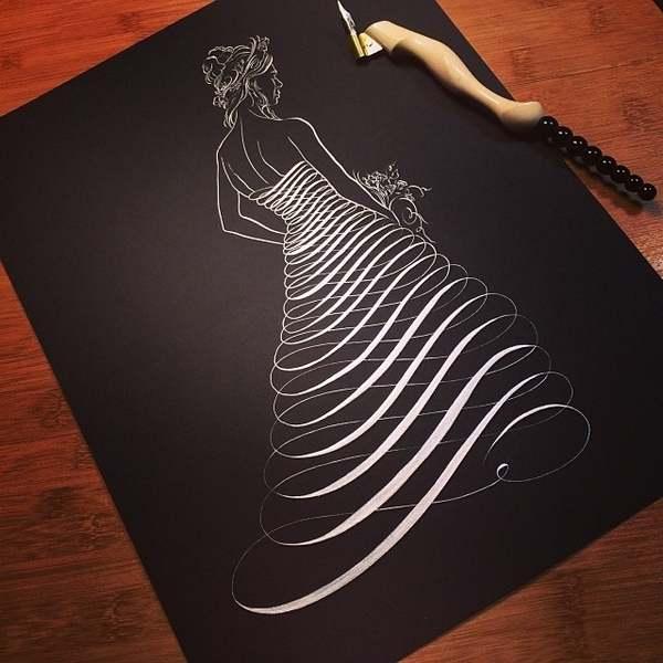 trabajos de un maestro de caligrafía