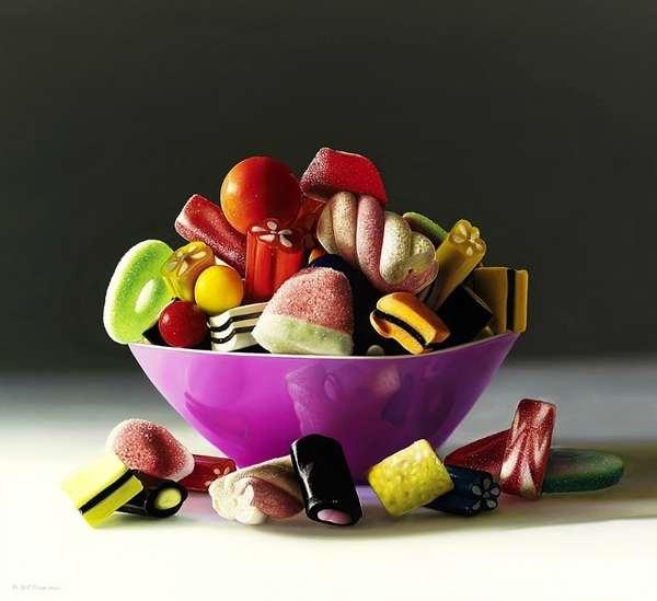 pinturas hiperrealistas de dulces