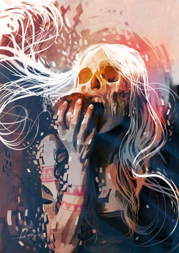 ilustración cráneo mujer