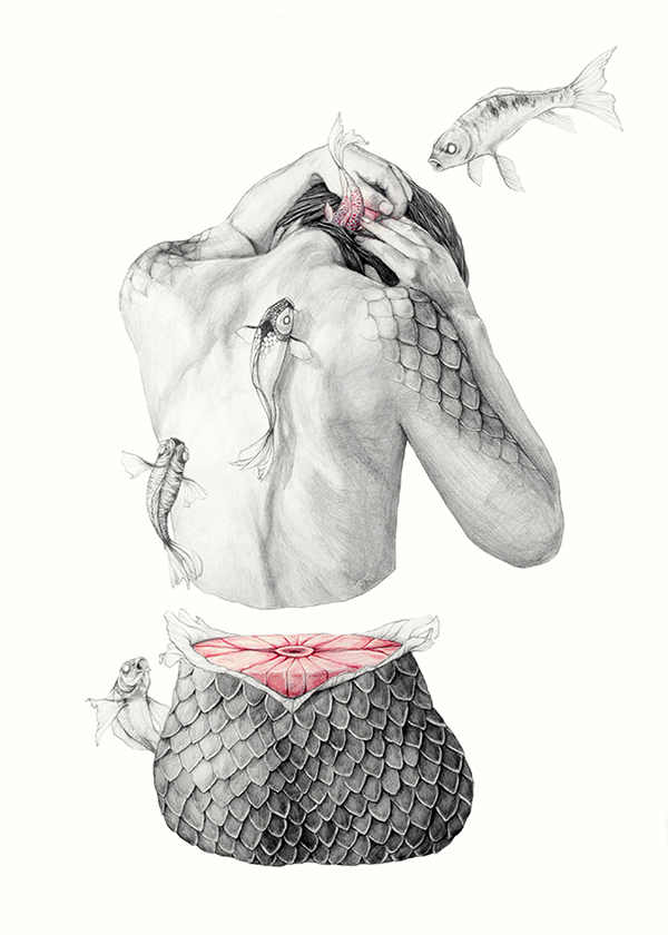 dibujo pez humano