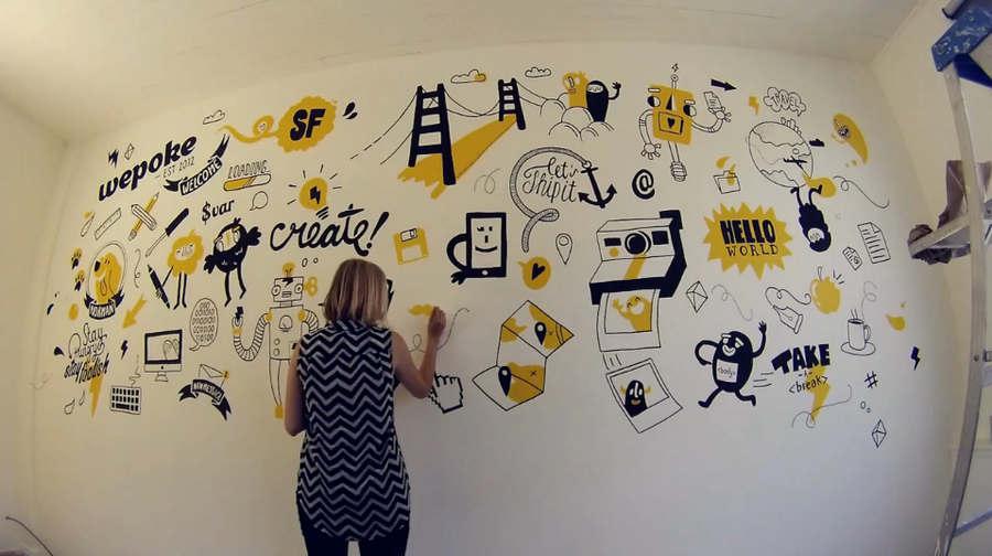 mural en una startup