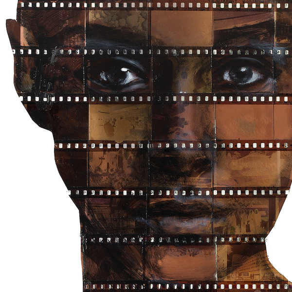 pinturas sobre negativos de fotografías
