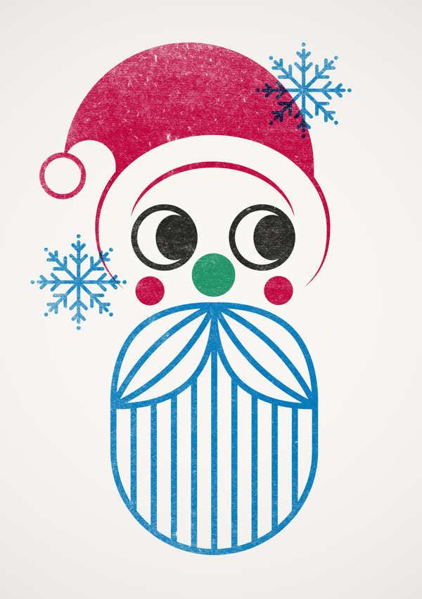 tarjeta de navidad hecha con sellos