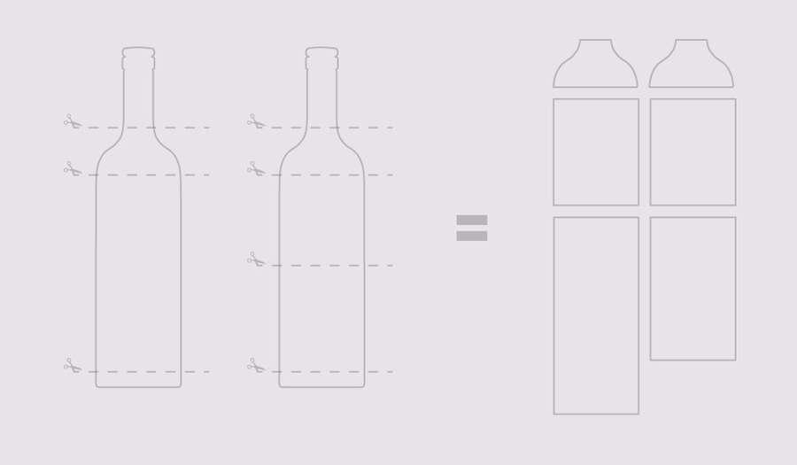 contenedores hechos con botellas de vino