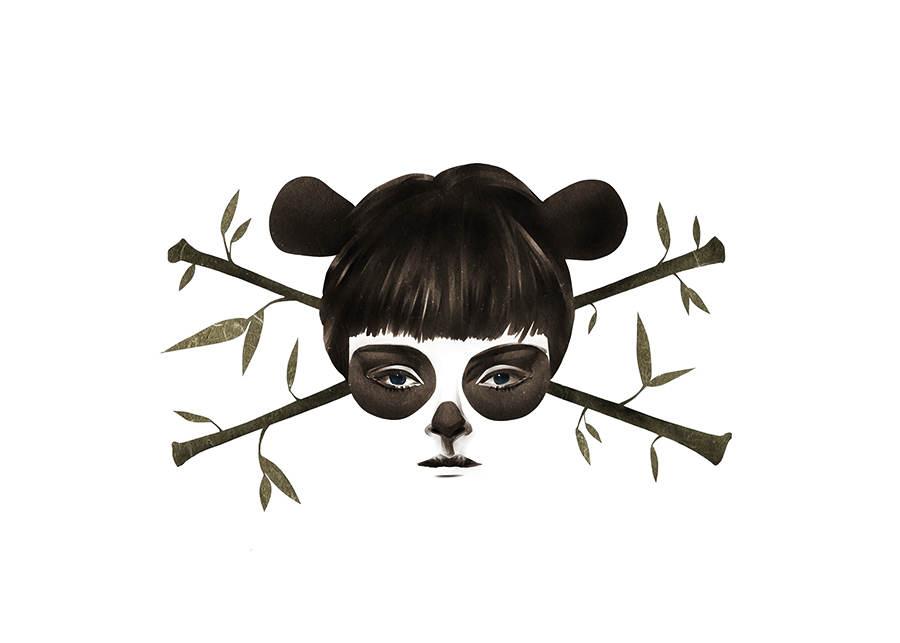 mujer panda