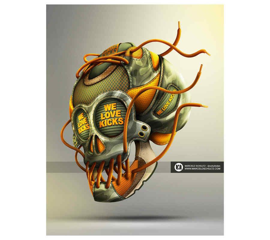 cráneos hechos de tenis nike