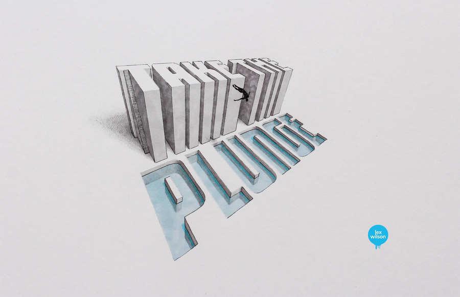 dibujo de tipografía en 3d