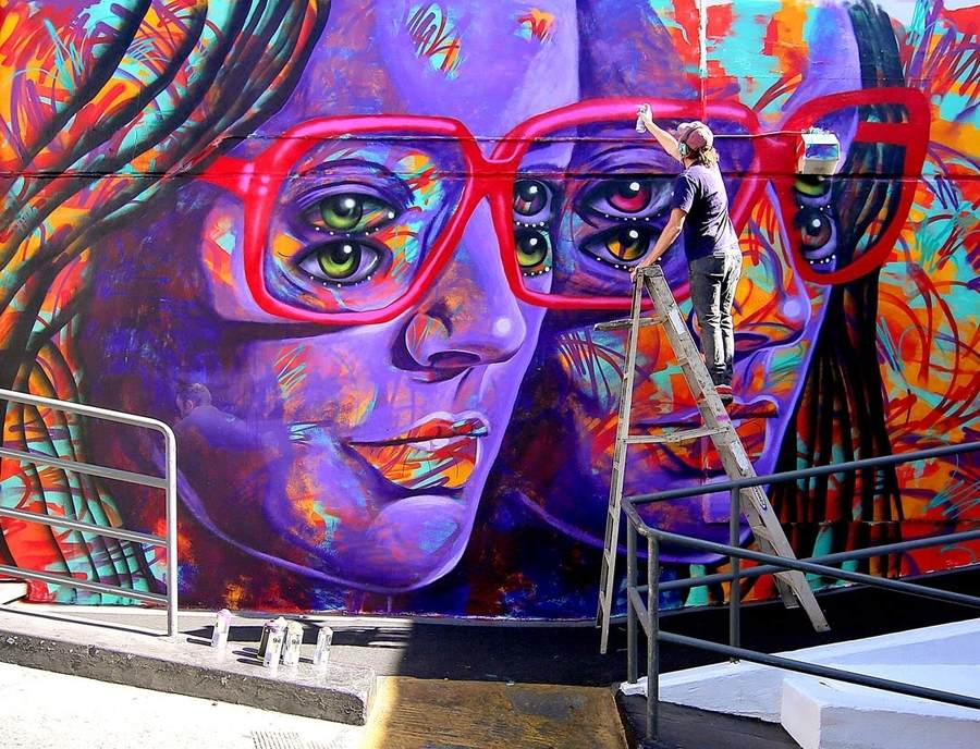 graffiti con ilusión óptica