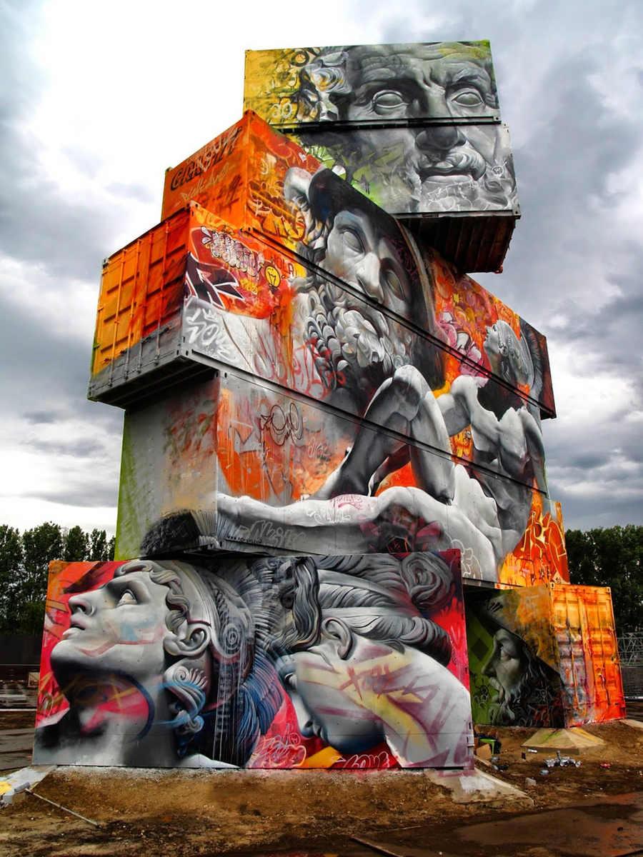 graffiti hecho en contenedores