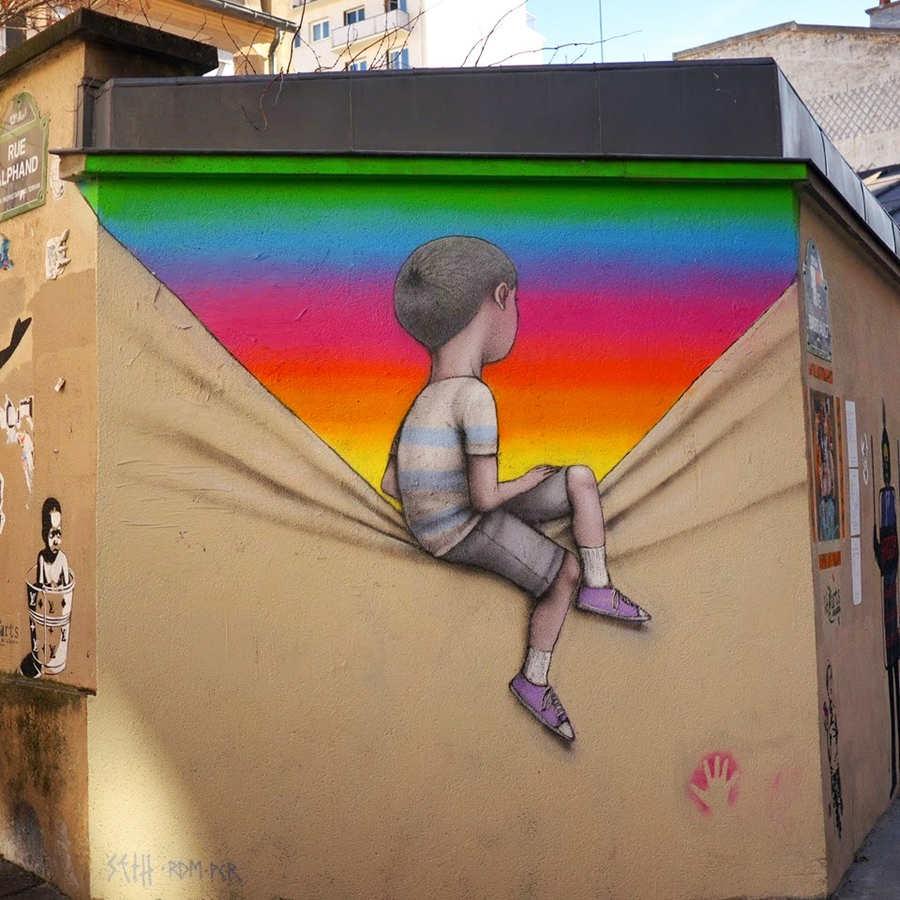 graffiti juega con el espacio