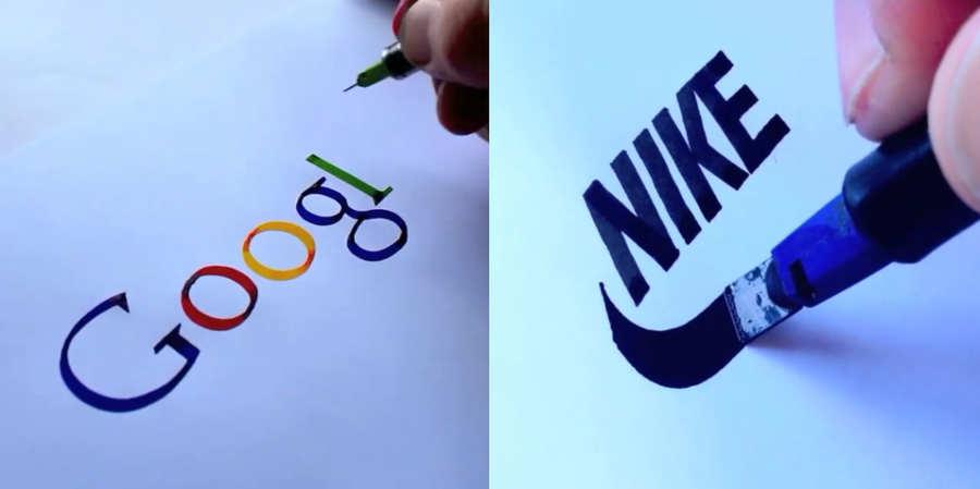 logotipos hechos con caligrafía