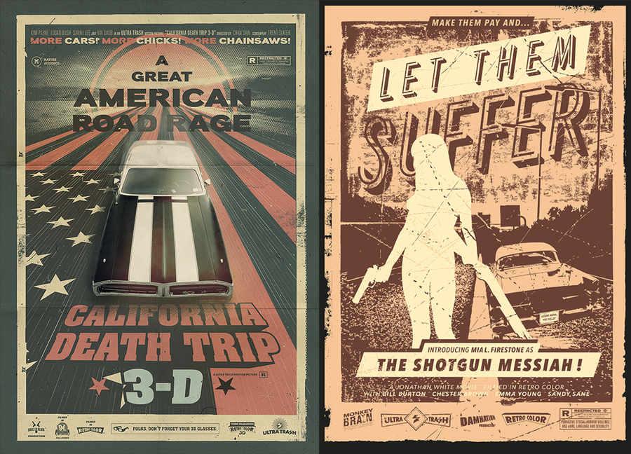 posters con estilo de los sesentas u ochentas