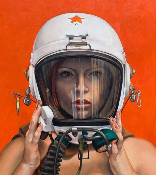 pinturas mujeres con cascos