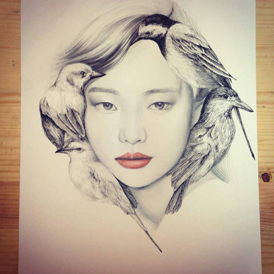 dibujos de mujeres y aves