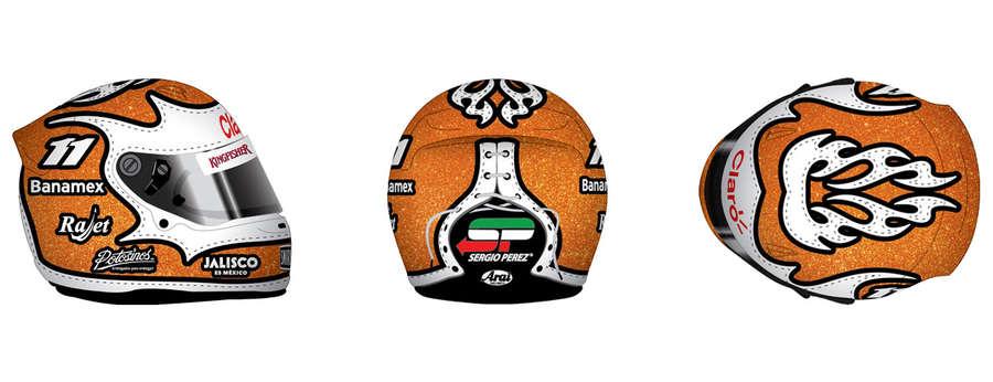 casco de Sergio Pérez F1