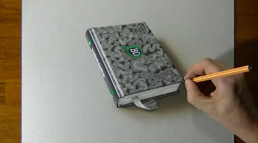 dibujo hiperrealista de un libro
