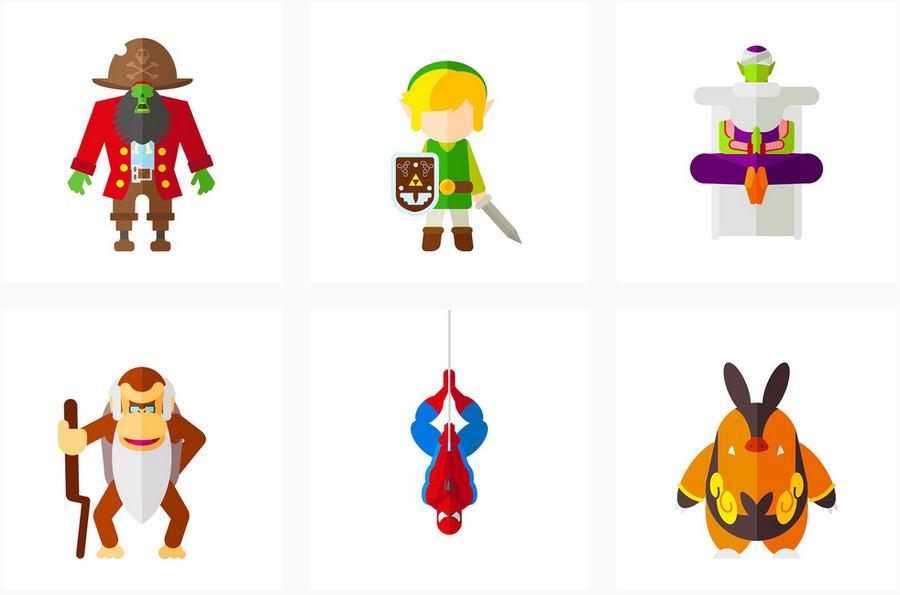 ilustración de personajes de videojuegos