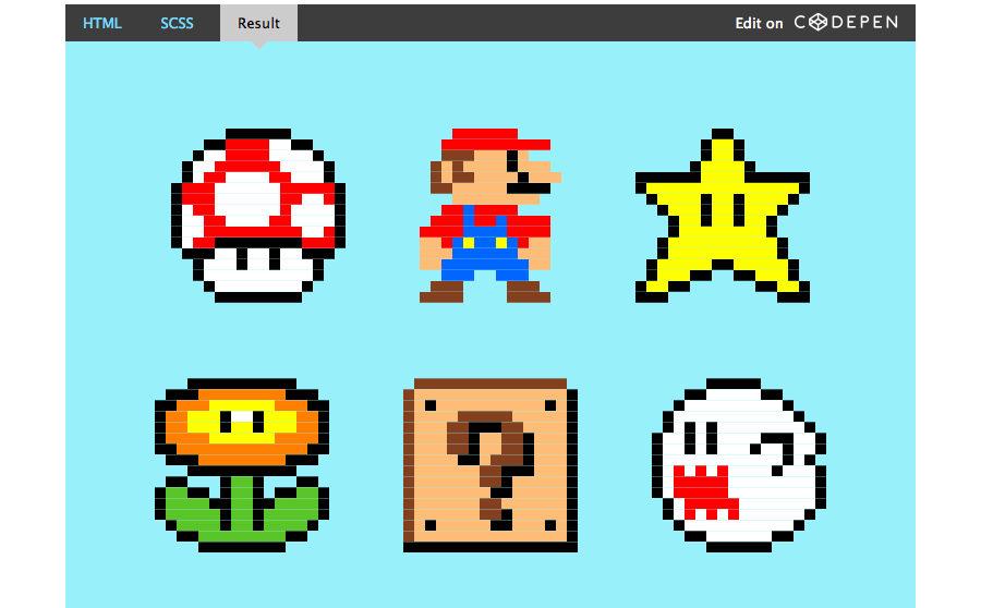 pixel art hecho con sass