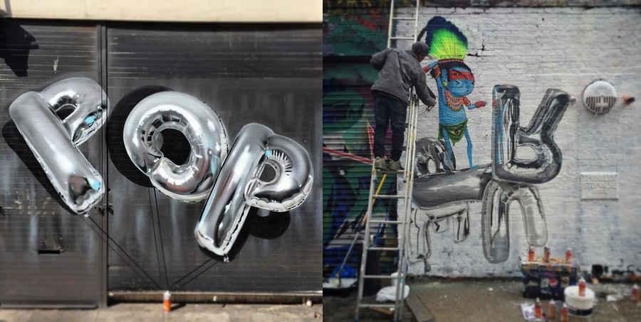 graffitis de globos metalizados