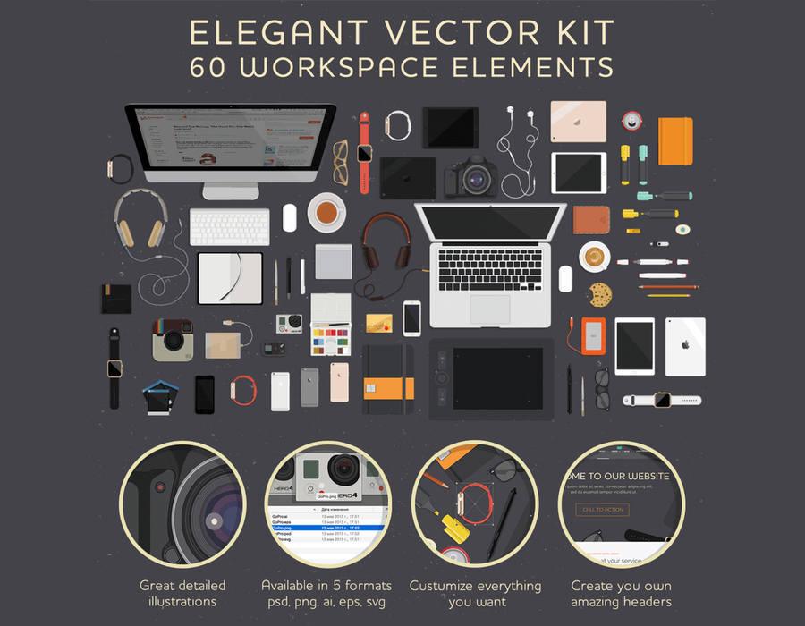 1368ea9e6ced 60 ilustraciones de herramientas en un espacio de trabajo