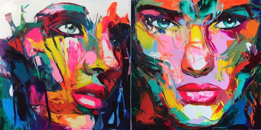 pinturas sobre rostros humanos