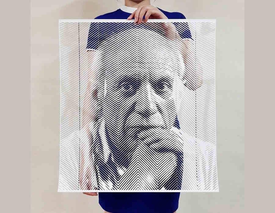 retratos con recortes de papel
