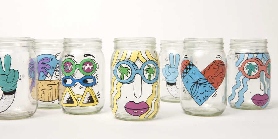 tarros de cristal pintados a mano para starbucks - Tarros De Vidrio
