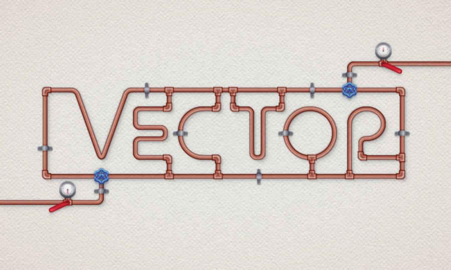 texto con tuberías illustrator