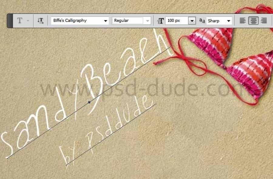 escribir en arena con Photoshop