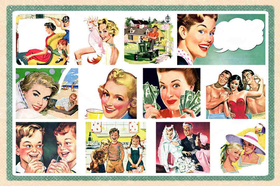 personas para publicidad vintage