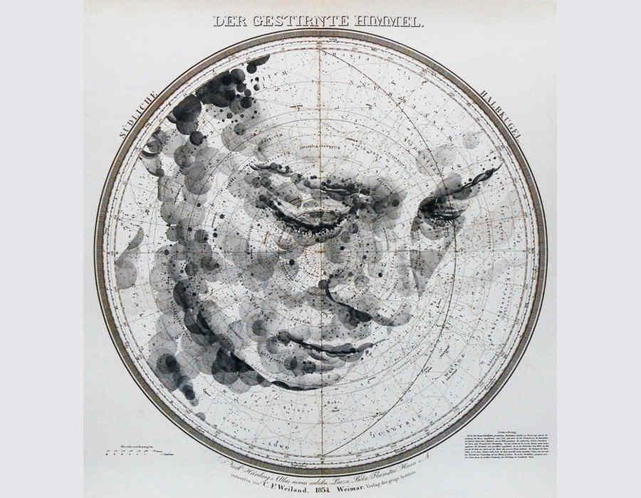 retratos sobre mapas