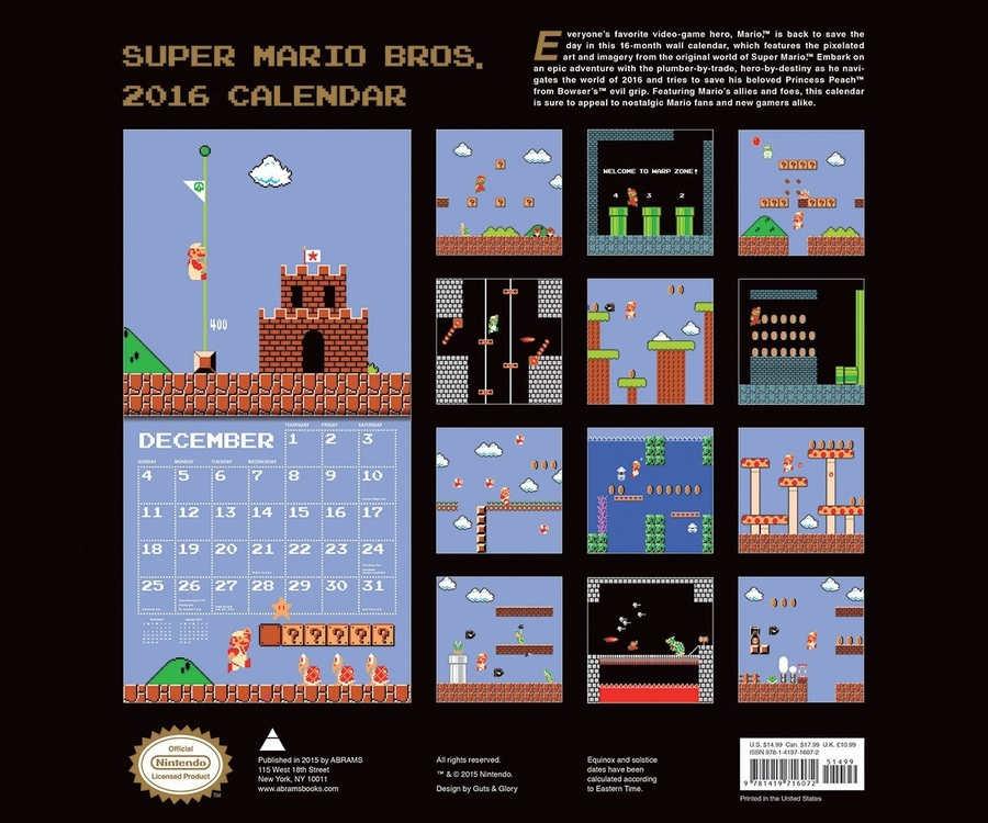 calendario 2016 super Mario bros