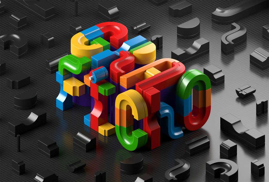 experimento tipográfico en 3D
