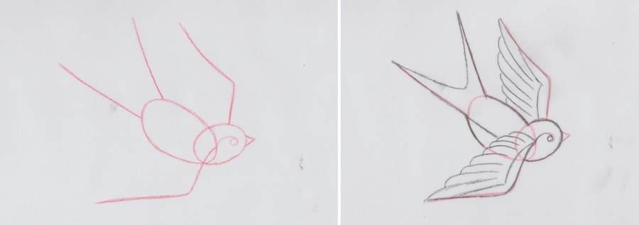 dibujar una golondrina de tatuaje